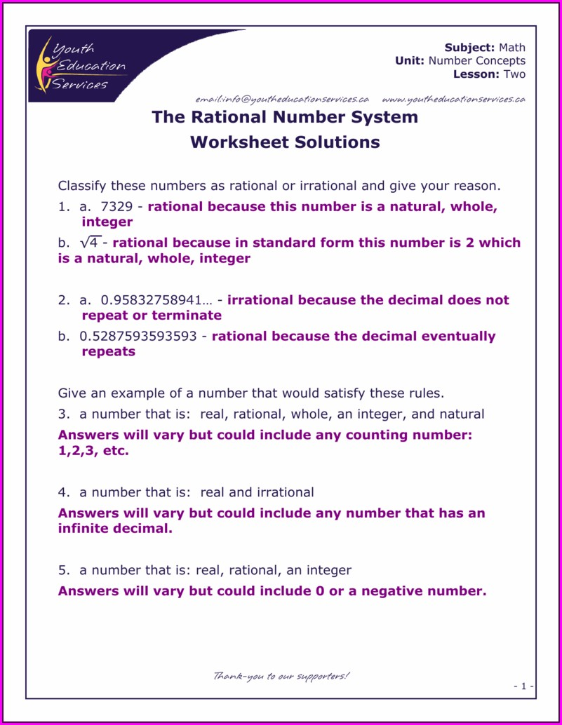 Classifying Real Numbers Worksheet