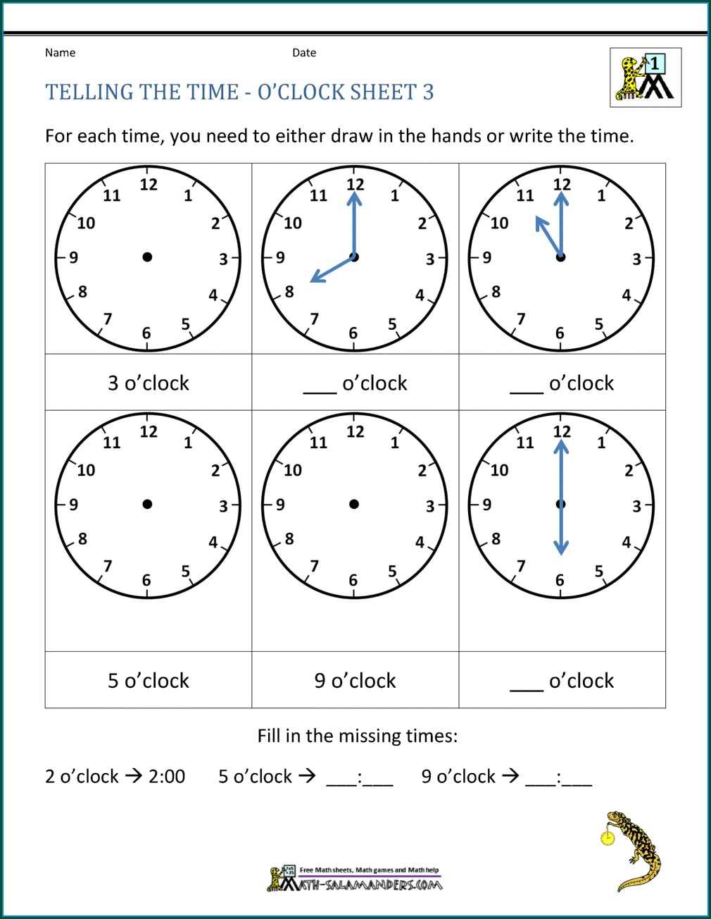 Clock Time Worksheet Activities