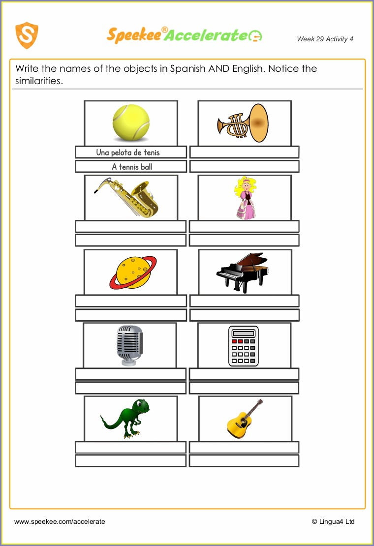 Cognates Worksheet Second Grade