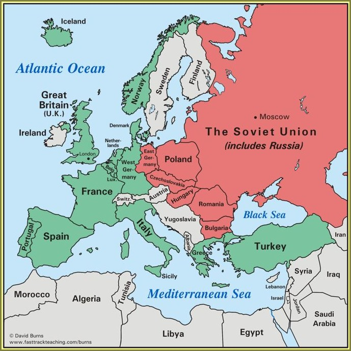 Cold War Europe Map Worksheet Answers