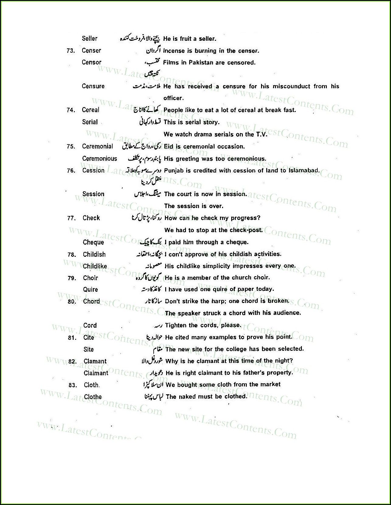 Commonly Confused Words Worksheet Answers
