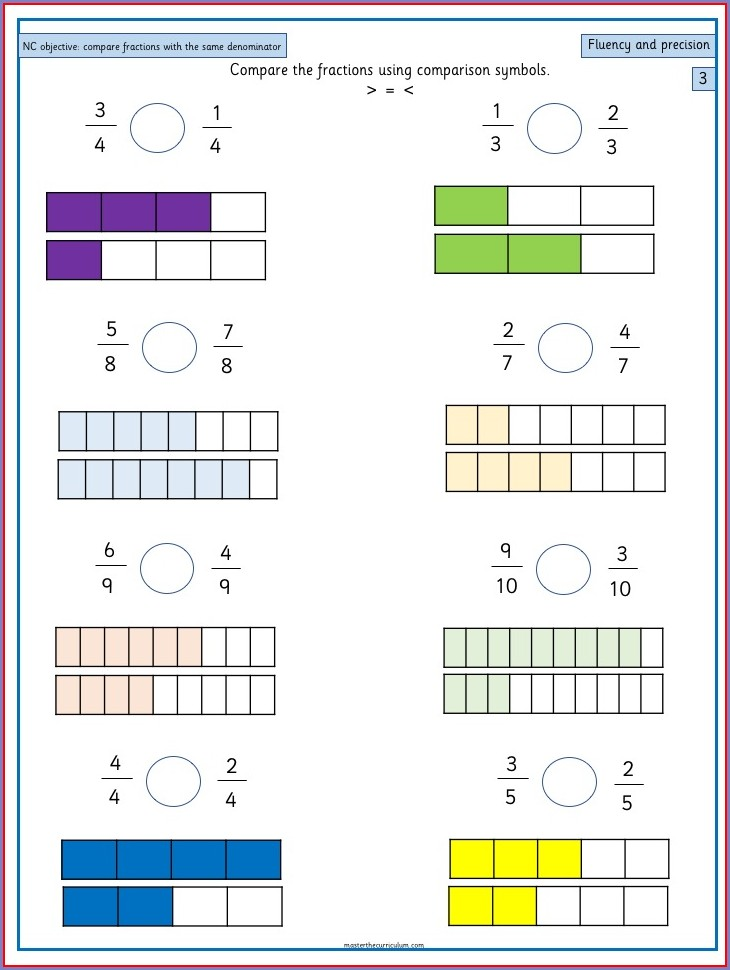 Comparing And Ordering Fractions Year 3 Worksheet