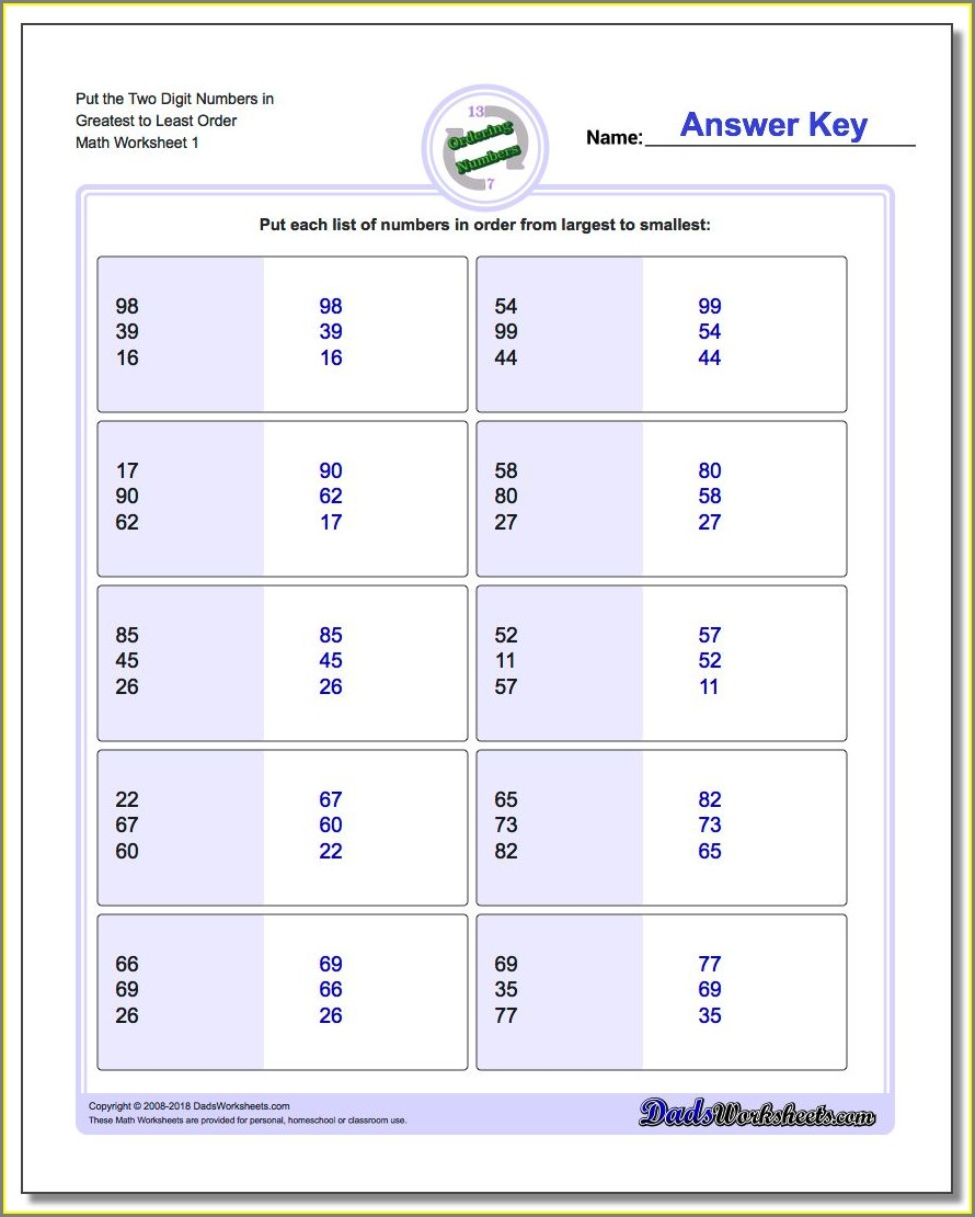 Comparing And Ordering Numbers Worksheet 3rd Grade