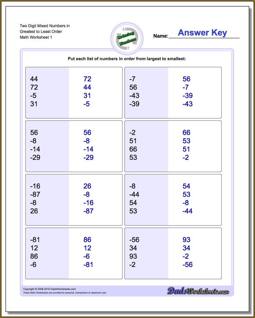Comparing And Ordering Numbers Worksheet 4th Grade