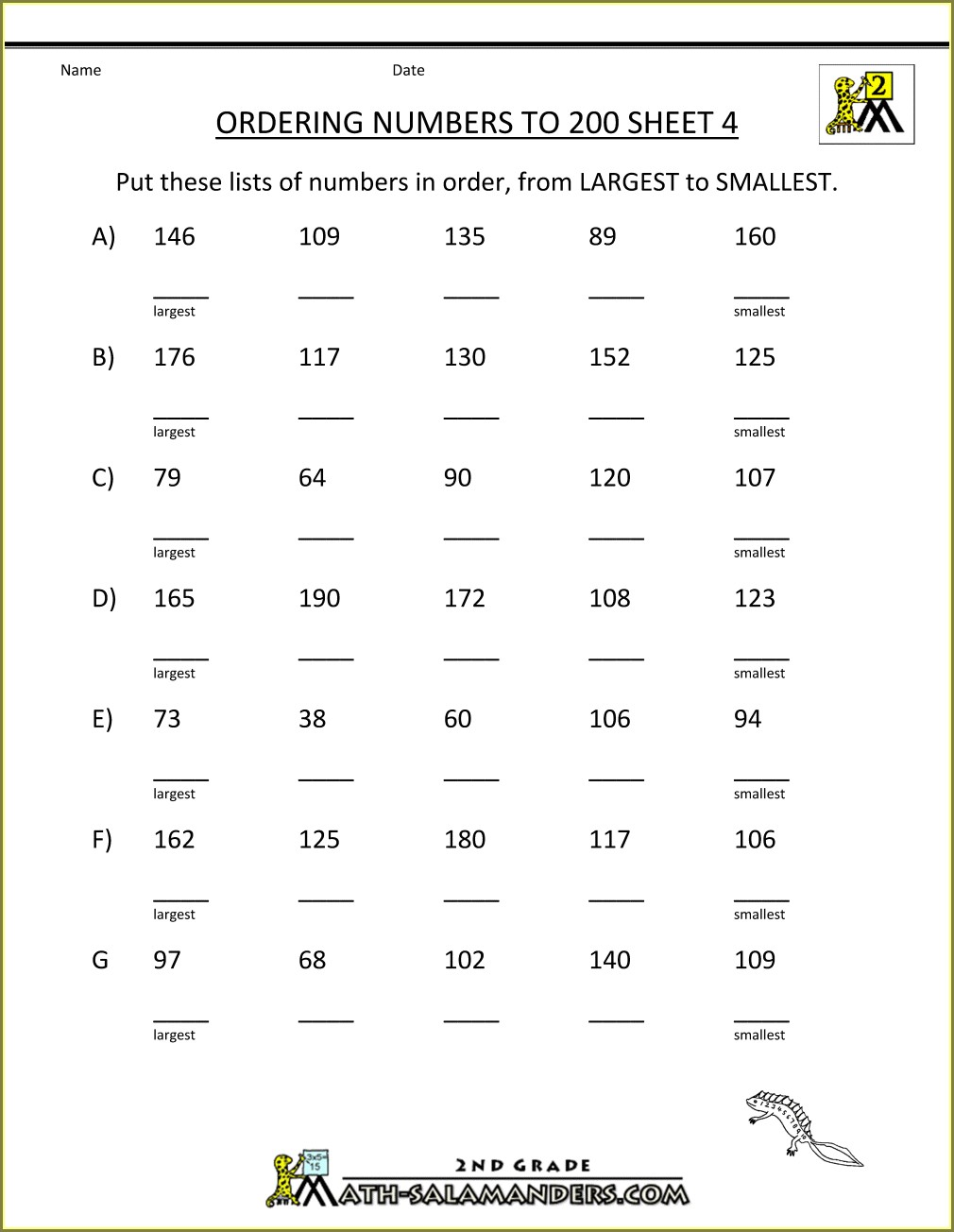 Comparing And Ordering Numbers Worksheet 5th Grade