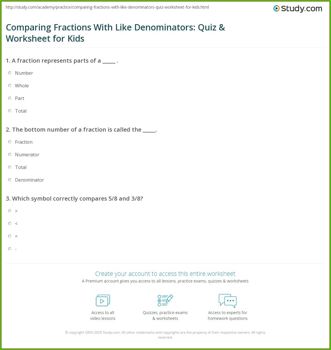Comparing Fractions With Like Denominators Worksheet