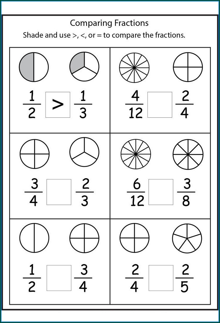 Comparing Fractions With Like Numerators Worksheet Pdf