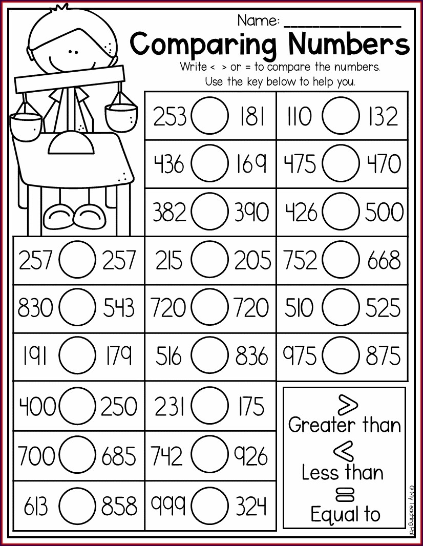 Comparing Numbers First Grade Worksheets