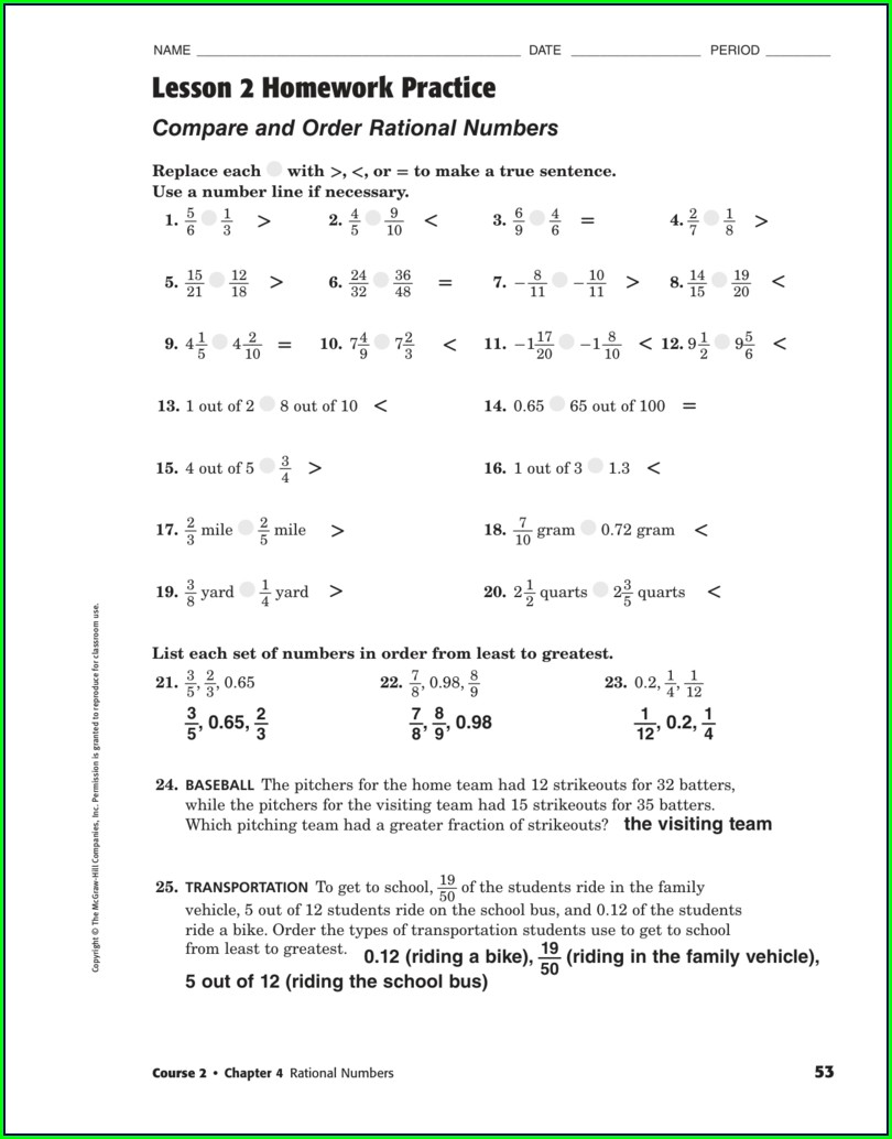 Comparing Rational Numbers Worksheet Pdf