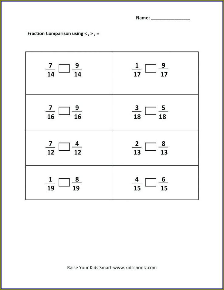 Comparing Whole Numbers Worksheets