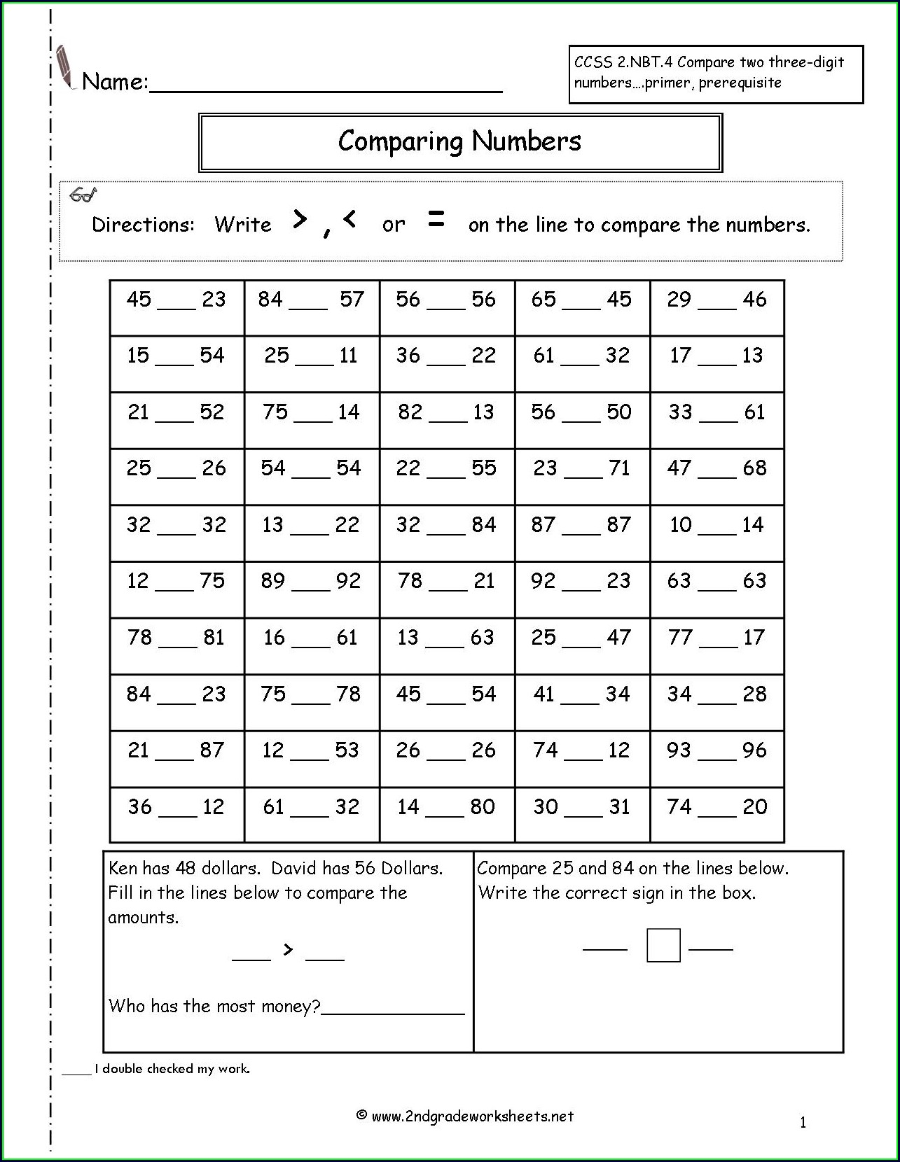 Comparison Of Whole Numbers Grade 3 Worksheets