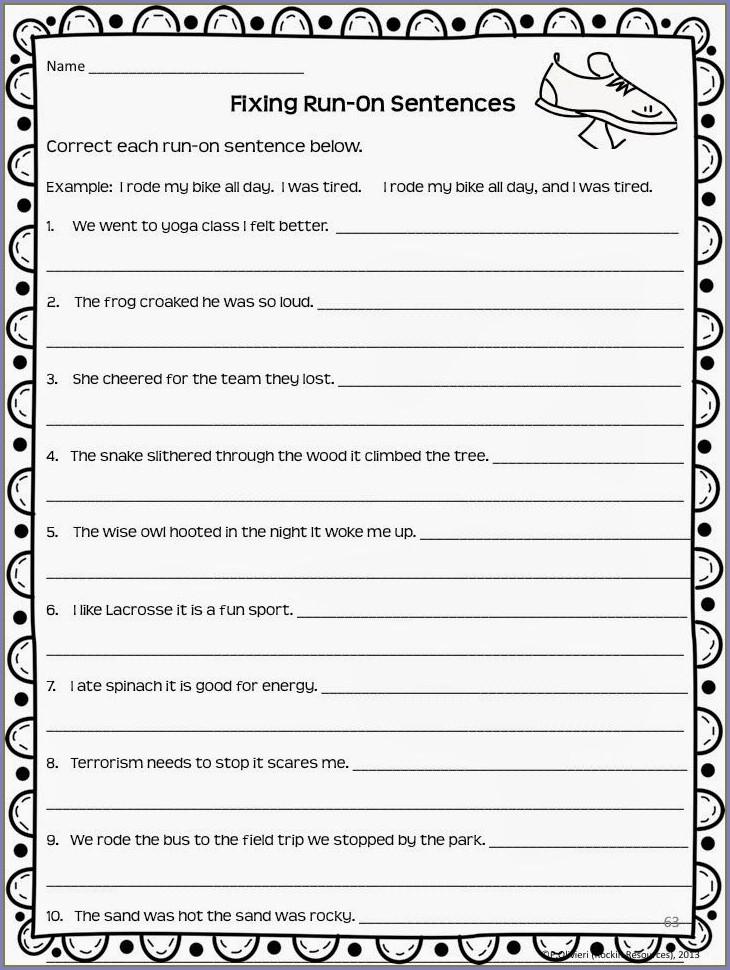 Complete Sentences Worksheets For Middle School
