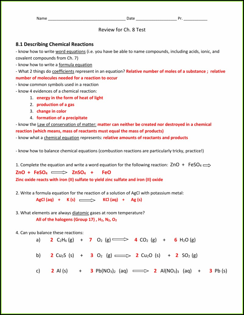 Completing And Writing Word Equations Worksheet Answers