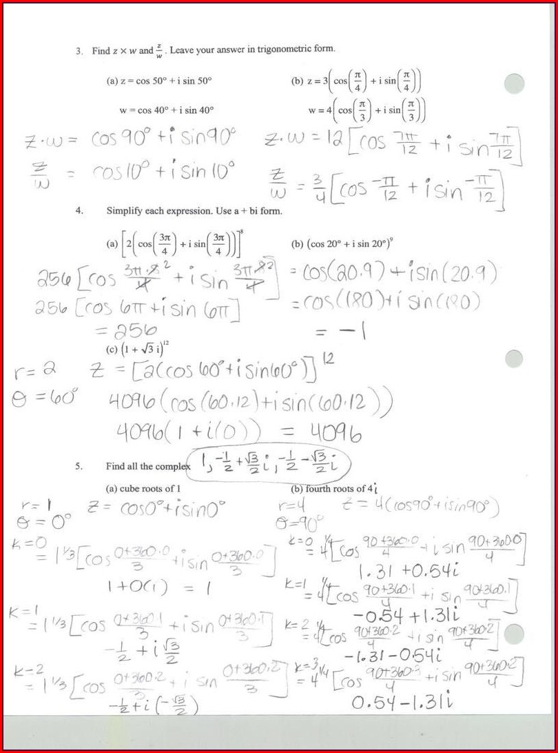 Complex Numbers Worksheet With Answers Pdf