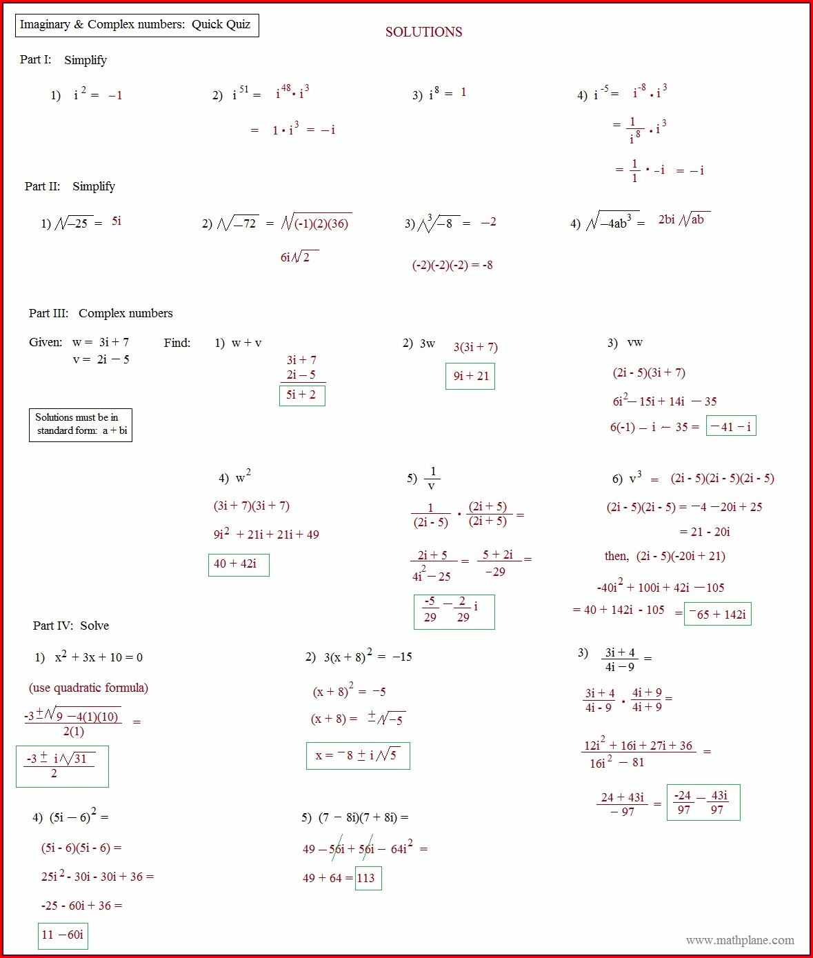 Complex Numbers Worksheet With Answers