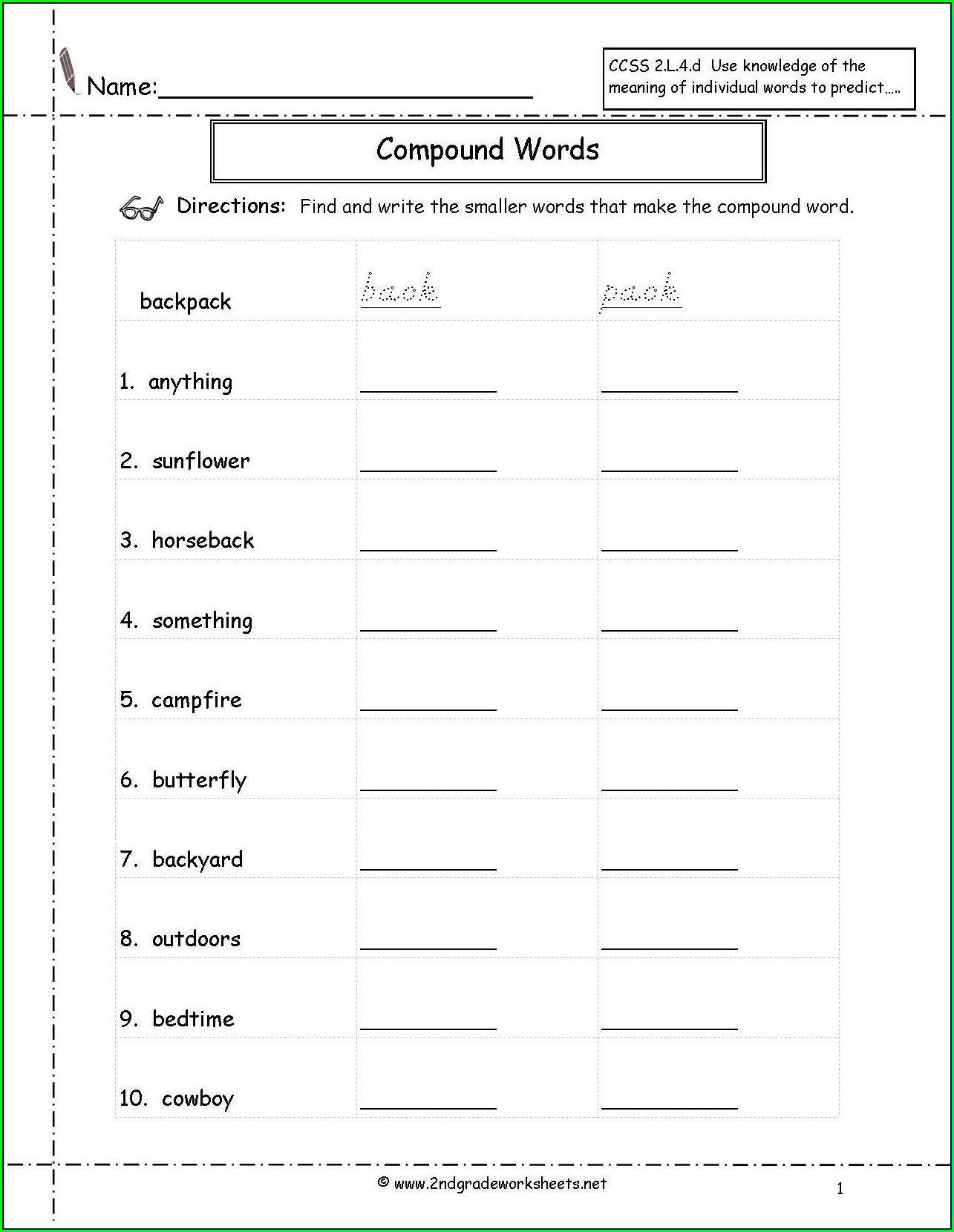 Compound Word Worksheet Printable
