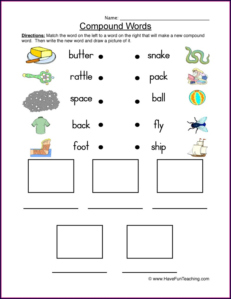 Compound Word Worksheets For Third Grade