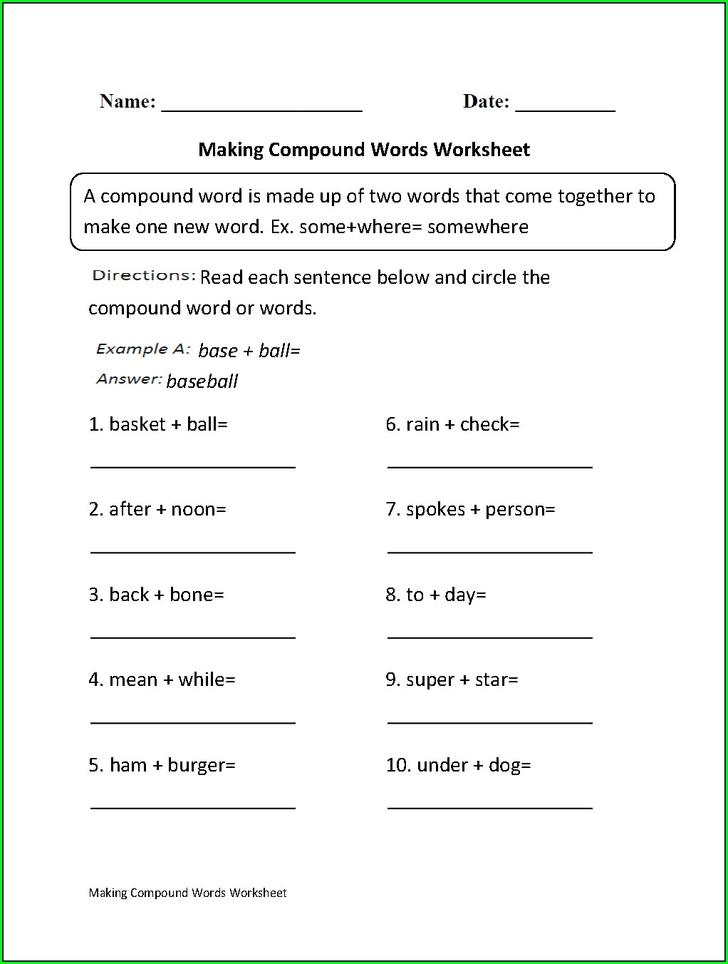 Compound Words Worksheet For Grade One