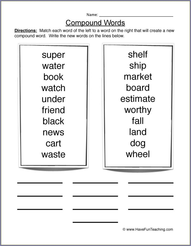 Compound Words Worksheet Free Printables