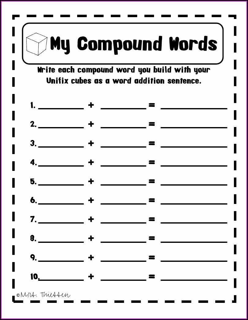 Compound Words Worksheet Free
