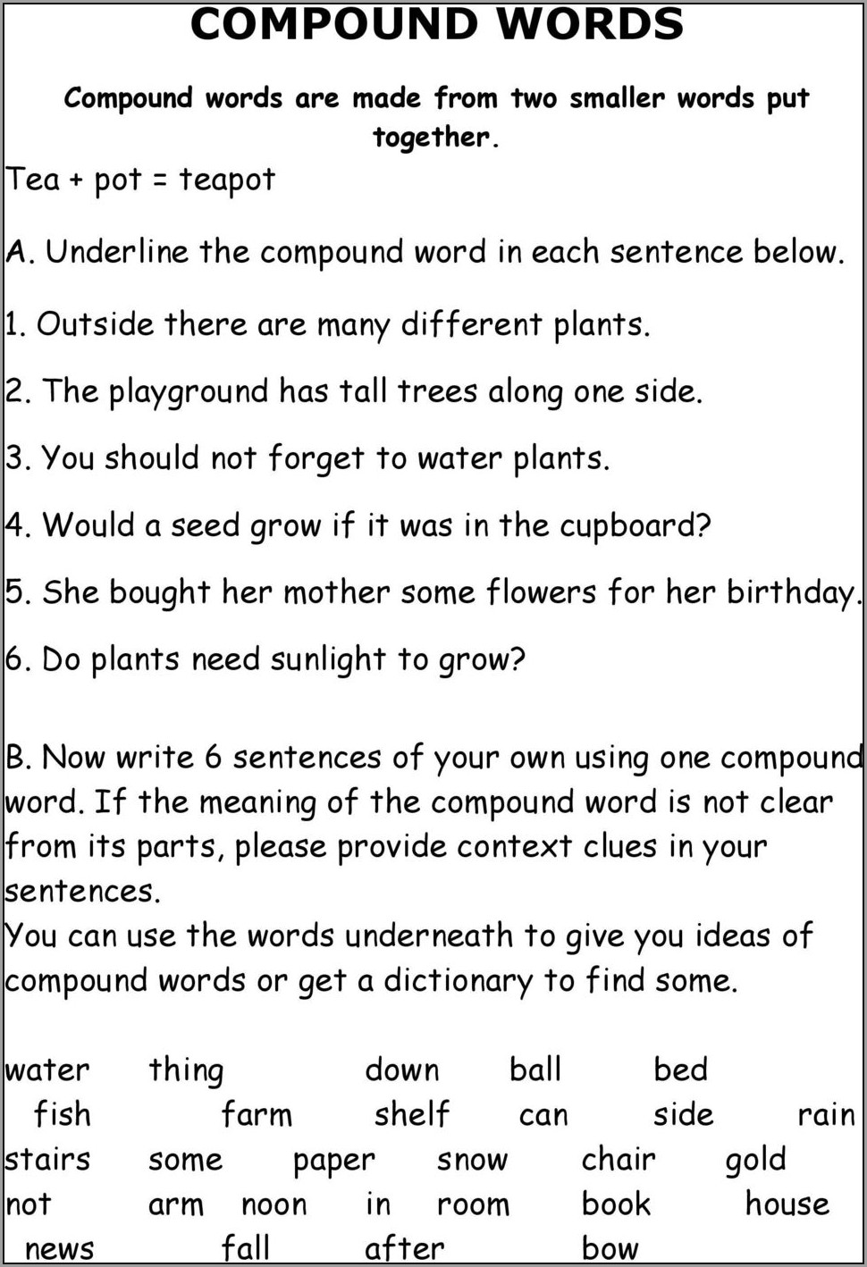 Compound Words Worksheet Middle School