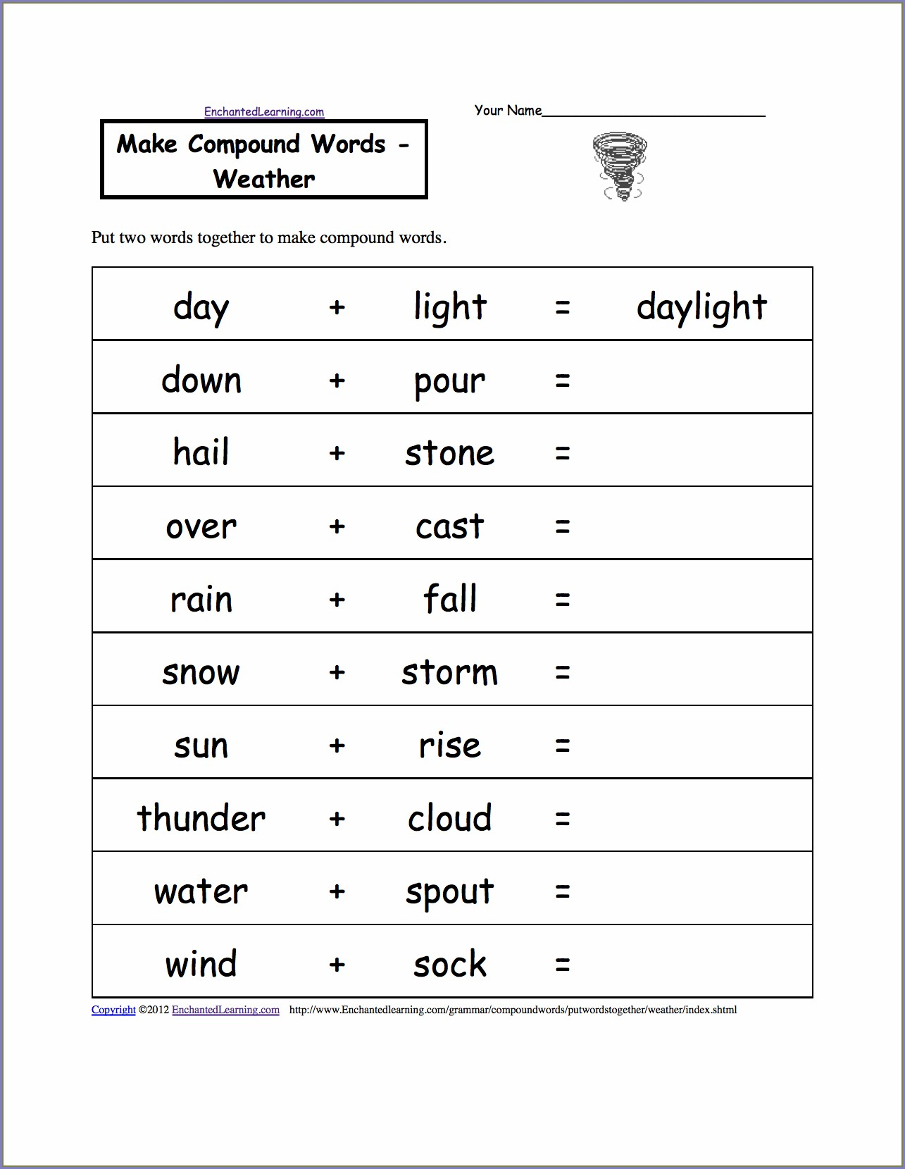 Compound Words Worksheet Printable