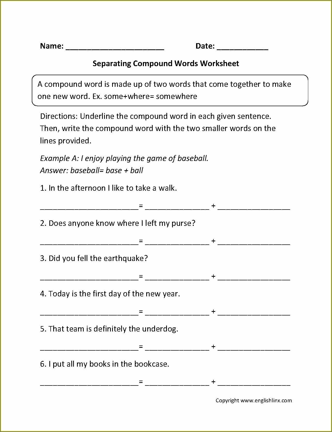 Compound Words Worksheet With Pictures Pdf