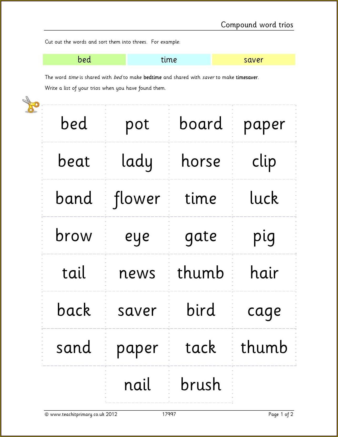 Compound Words Worksheets Ks2