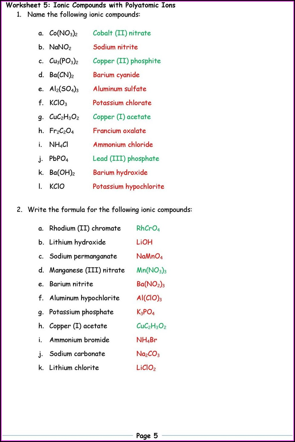 Compounds Worksheet Part 1a Writing Ionic Formulas Answers