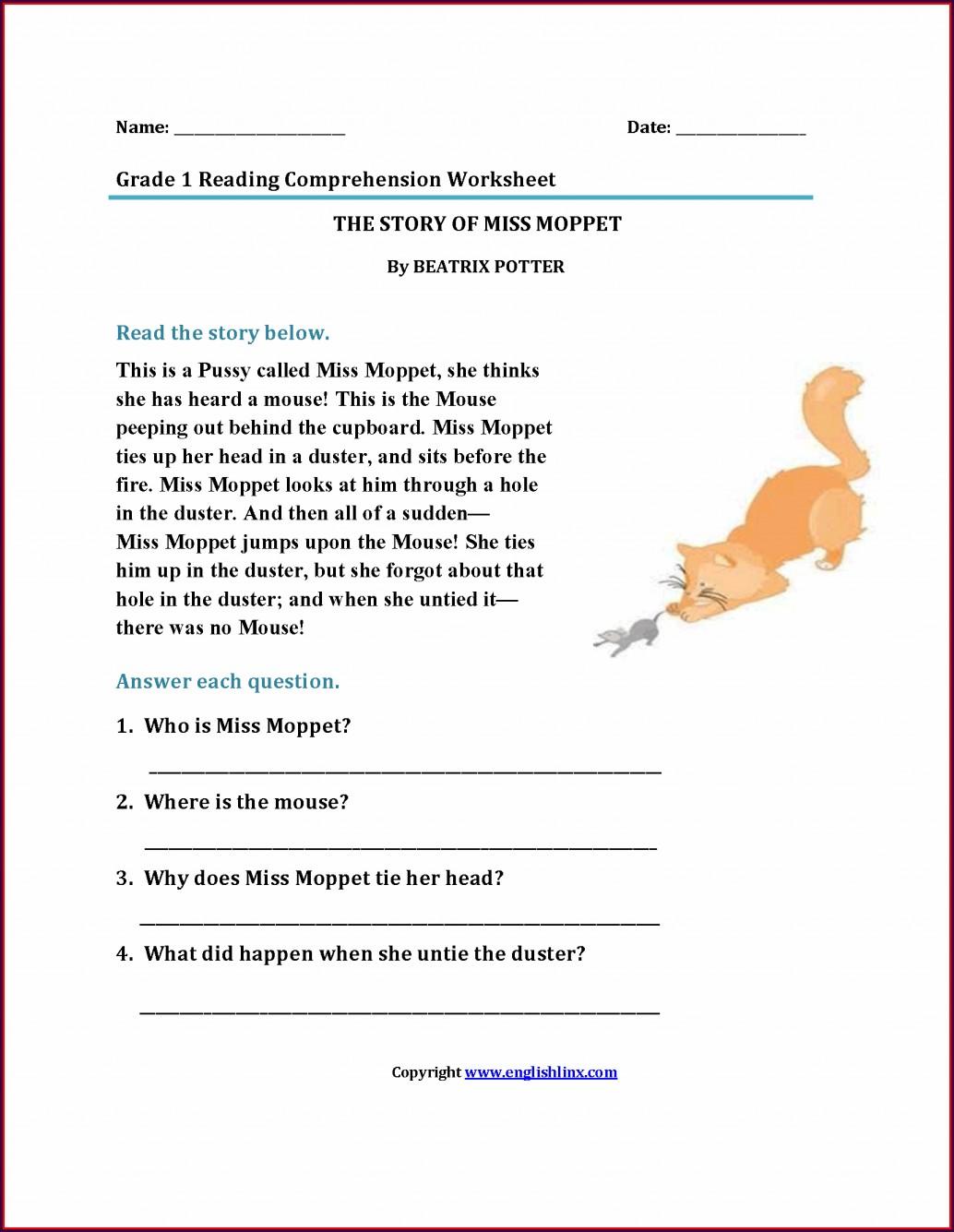 Comprehension Free Printable Worksheet For Grade 1