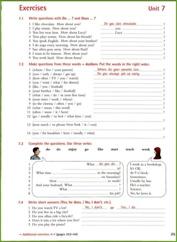 Comprehension Grammar Grade 7 English Worksheets