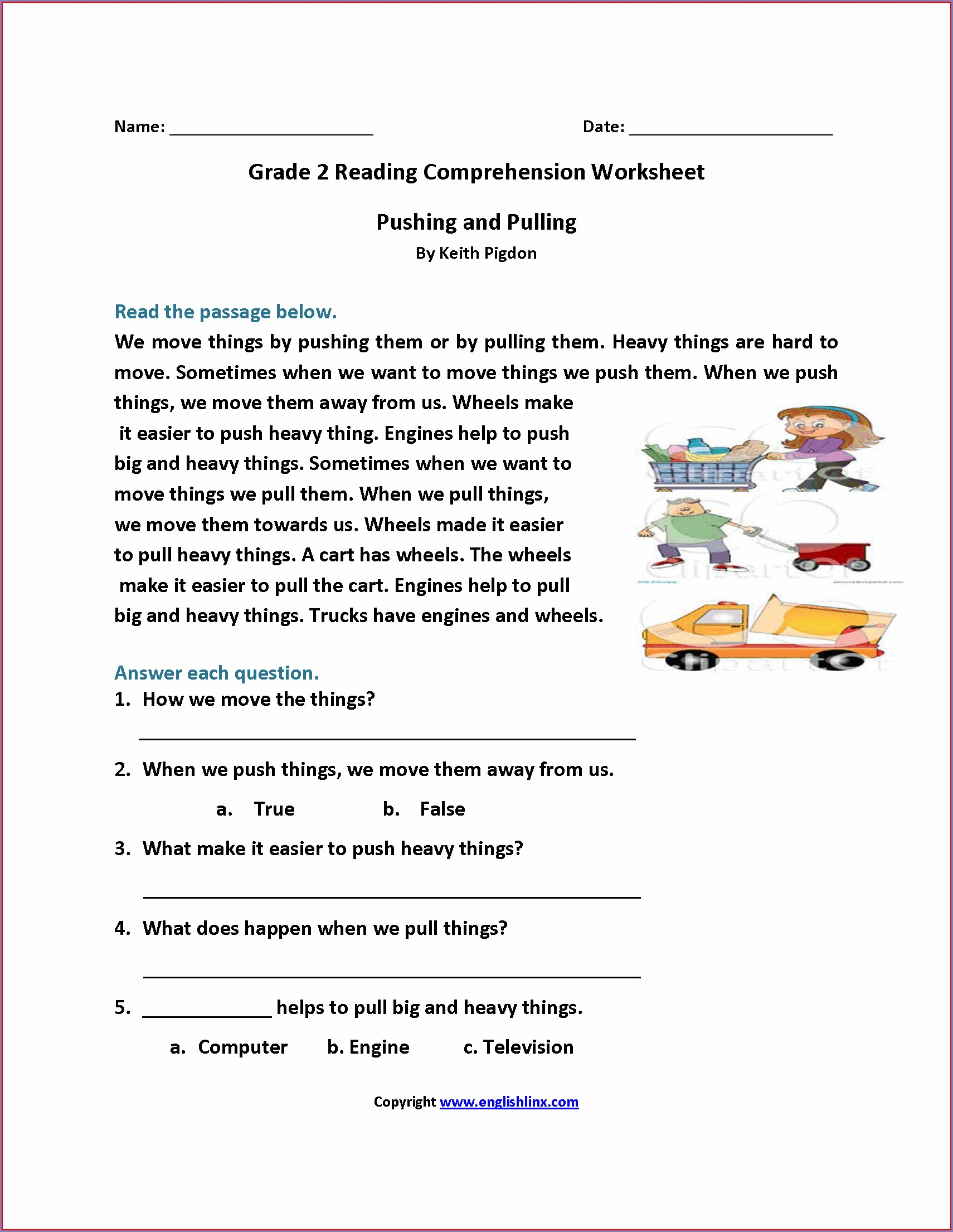 Comprehension Passages And Questions For Grade 2