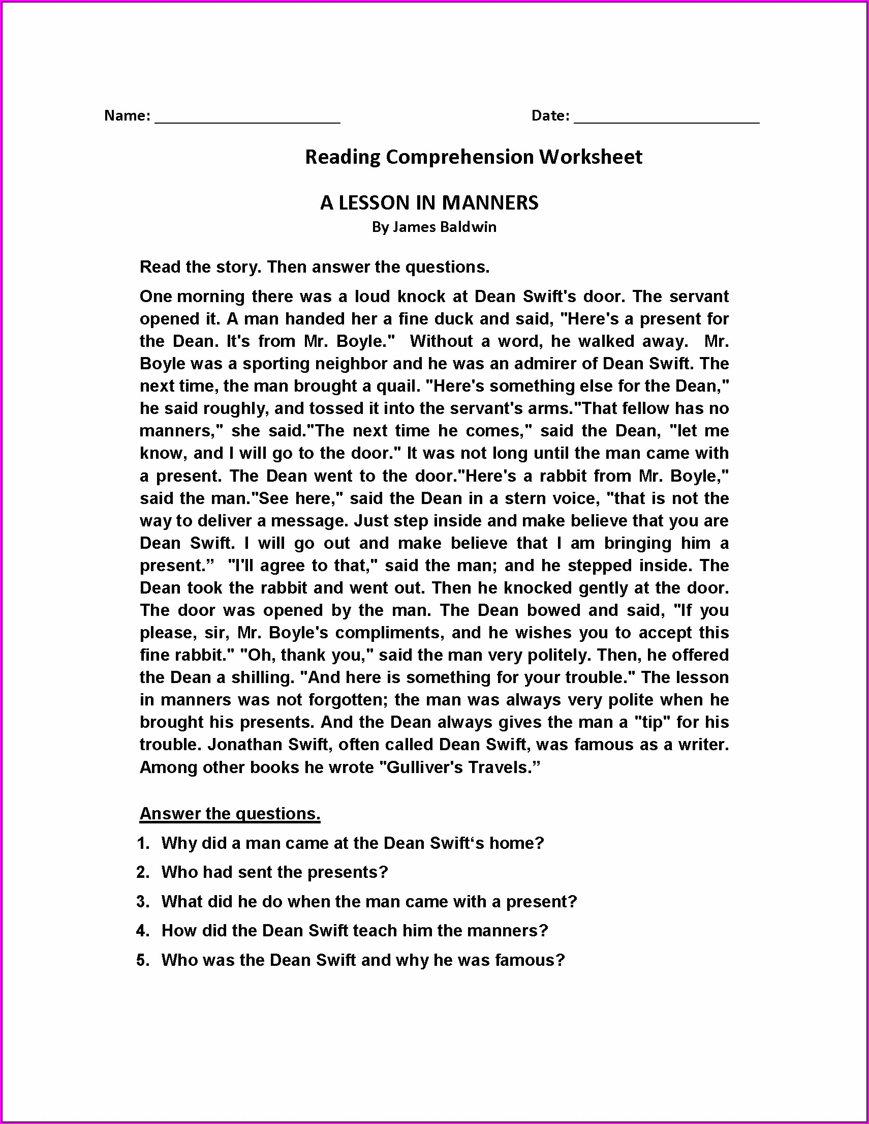Comprehension Passages And Questions For Grade 3