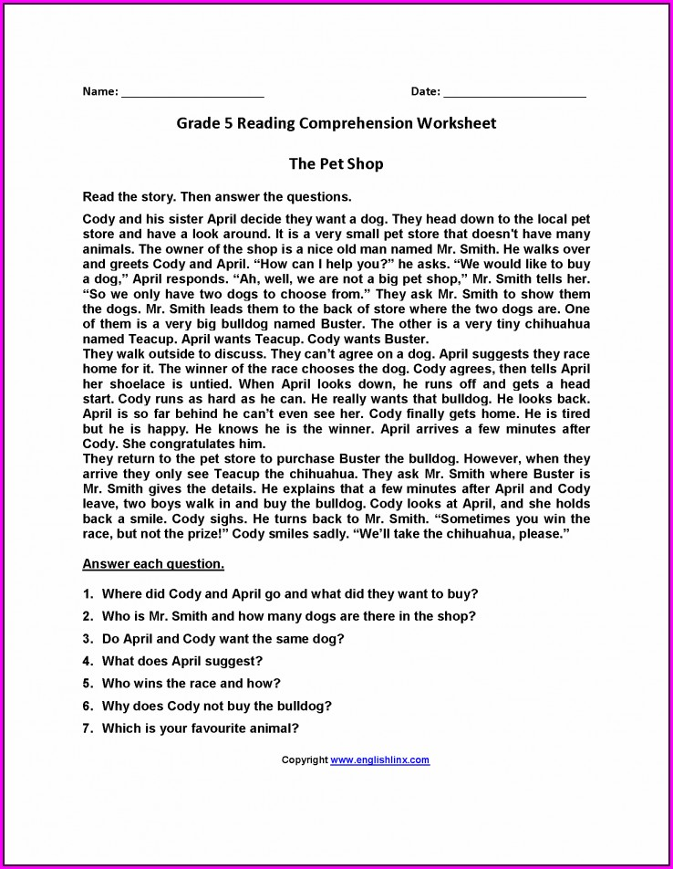 Comprehension Passages And Questions For Grade 6