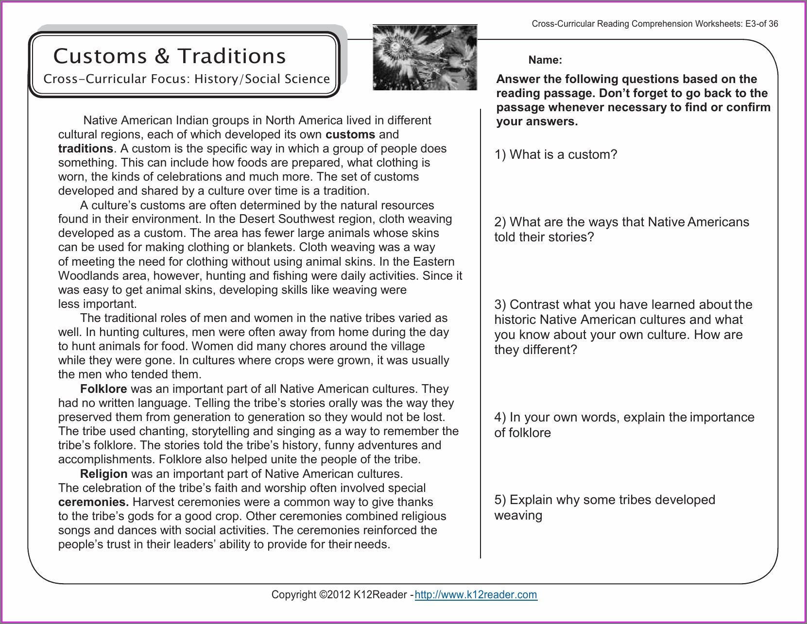 Comprehension Passages With Questions And Answers For Grade 6