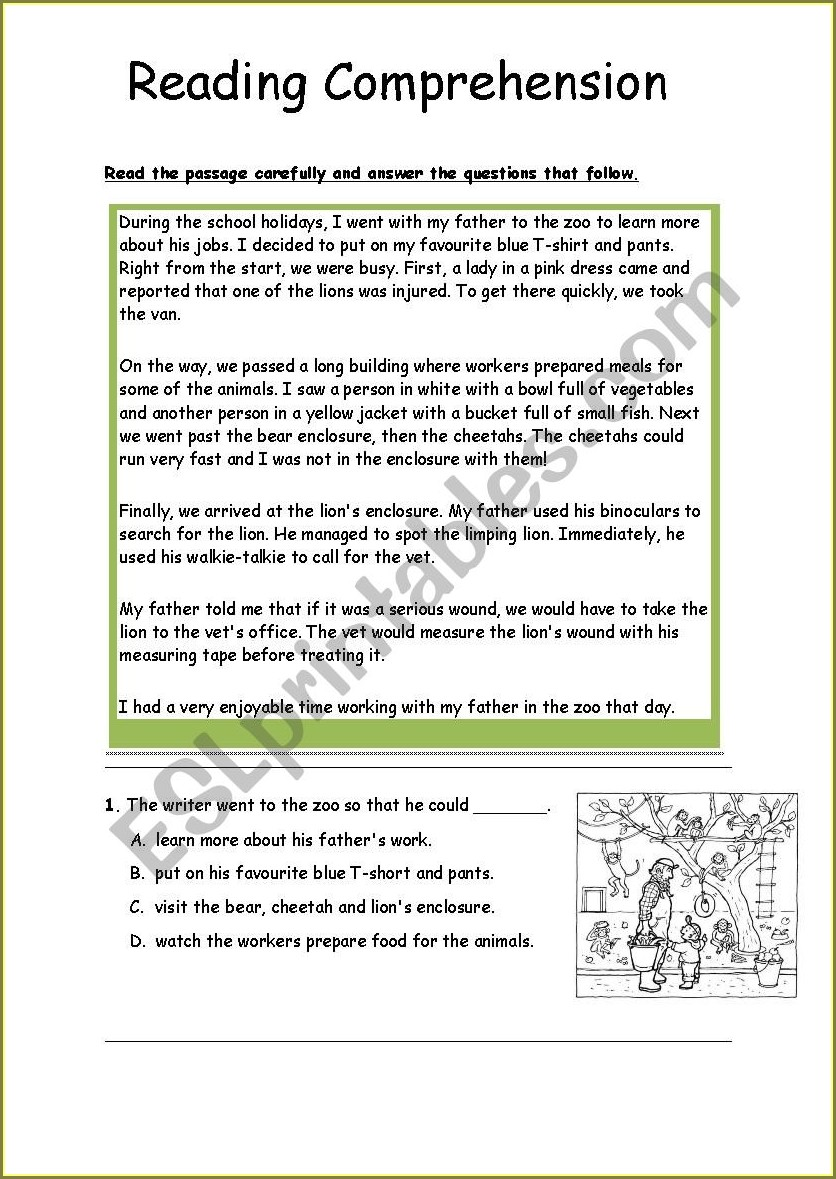 Comprehension Passages With Questions