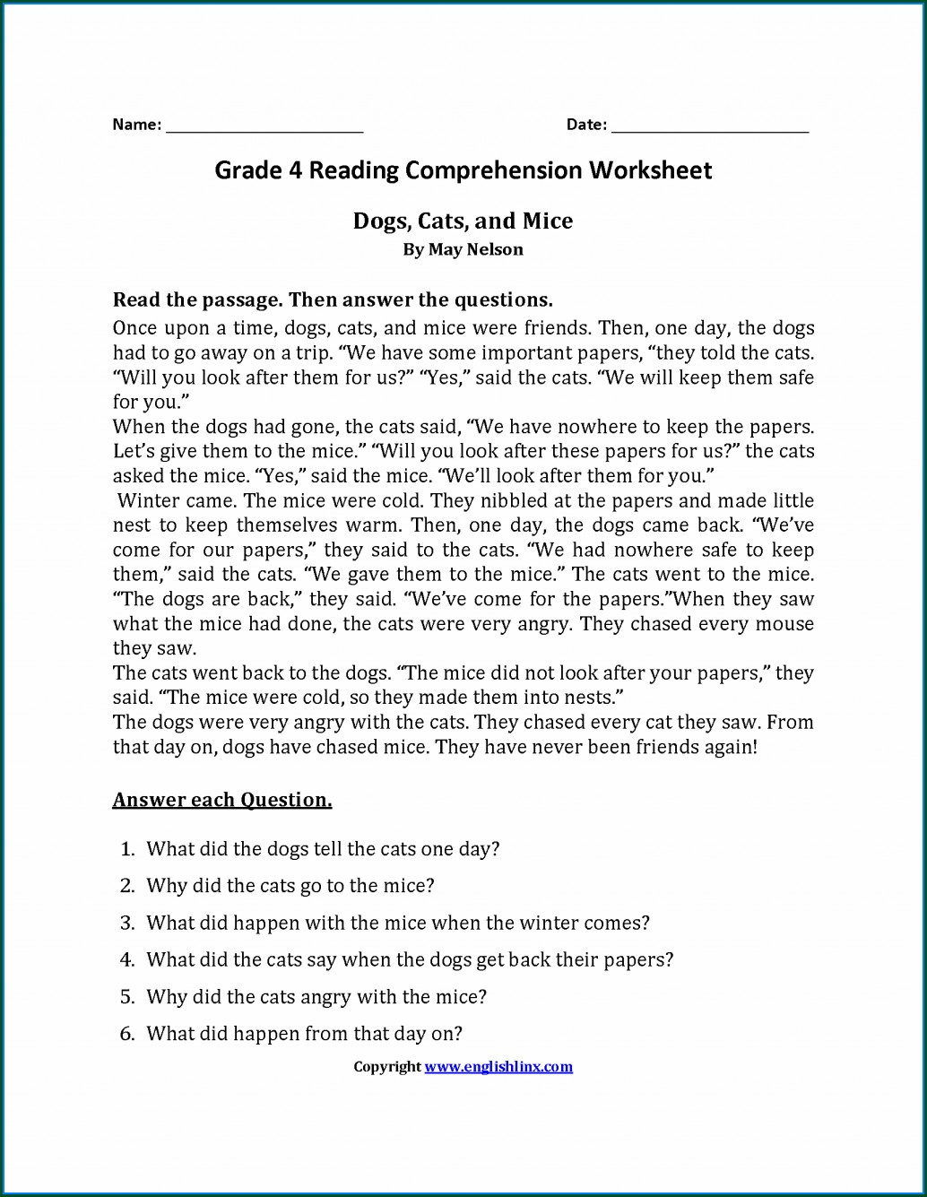 Comprehension Unseen Passages For Grade 1