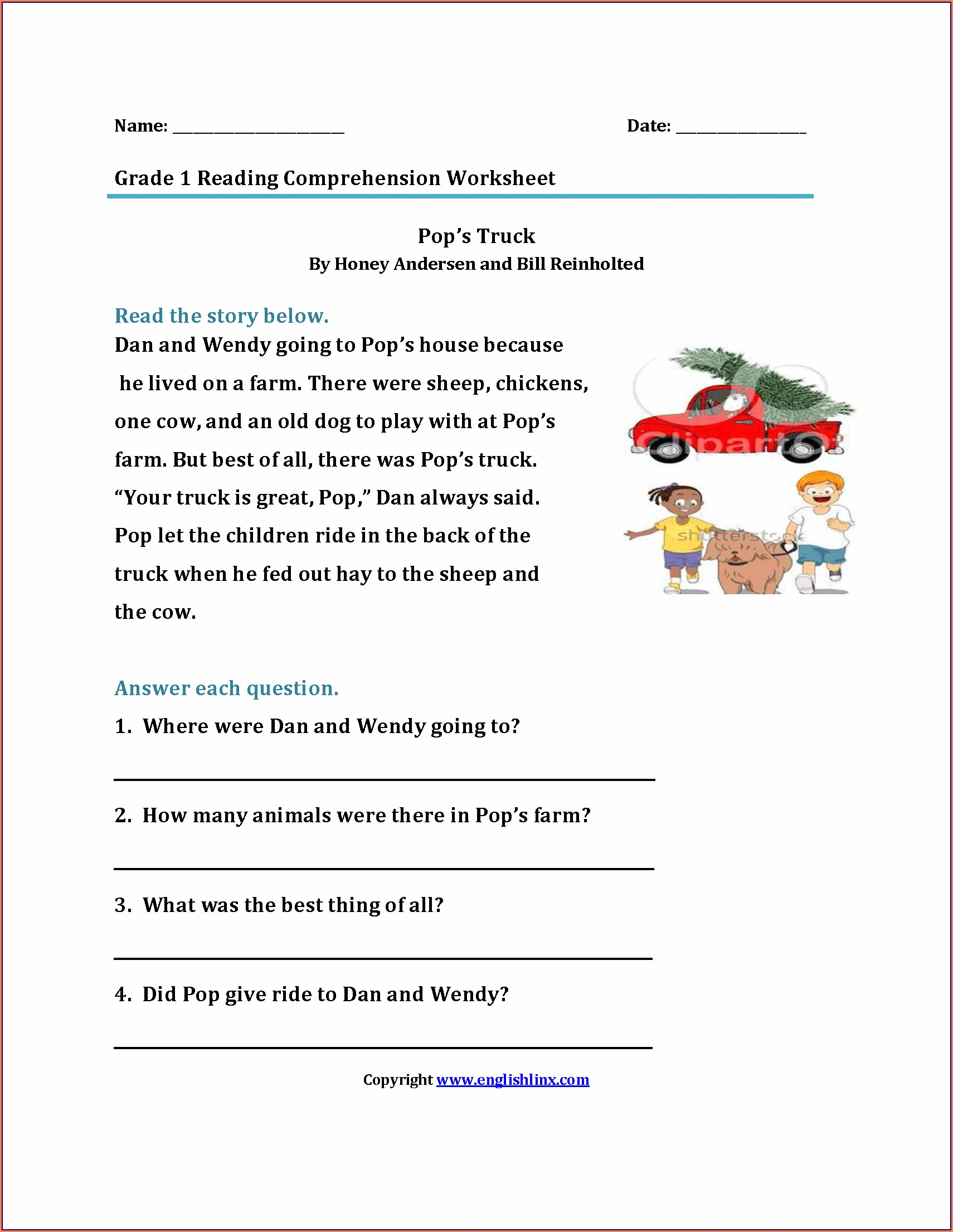 Comprehension Worksheet 1st Grade