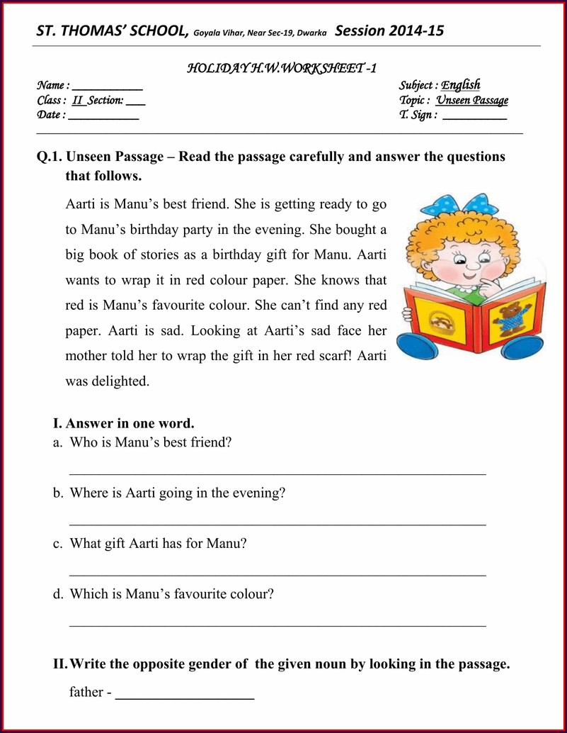 Comprehension Worksheet For Grade 1 English