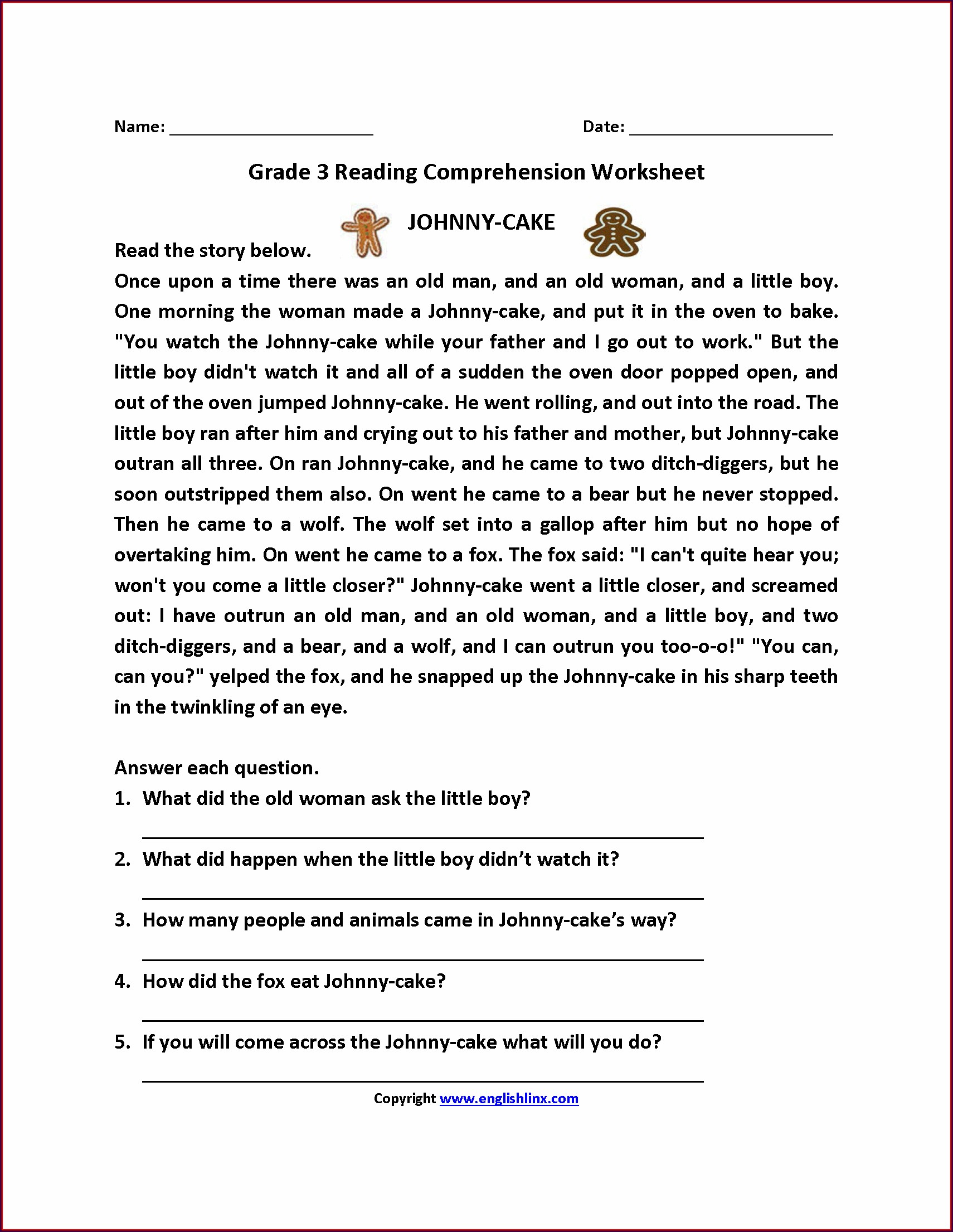 Comprehension Worksheet For Grade 2 Pdf
