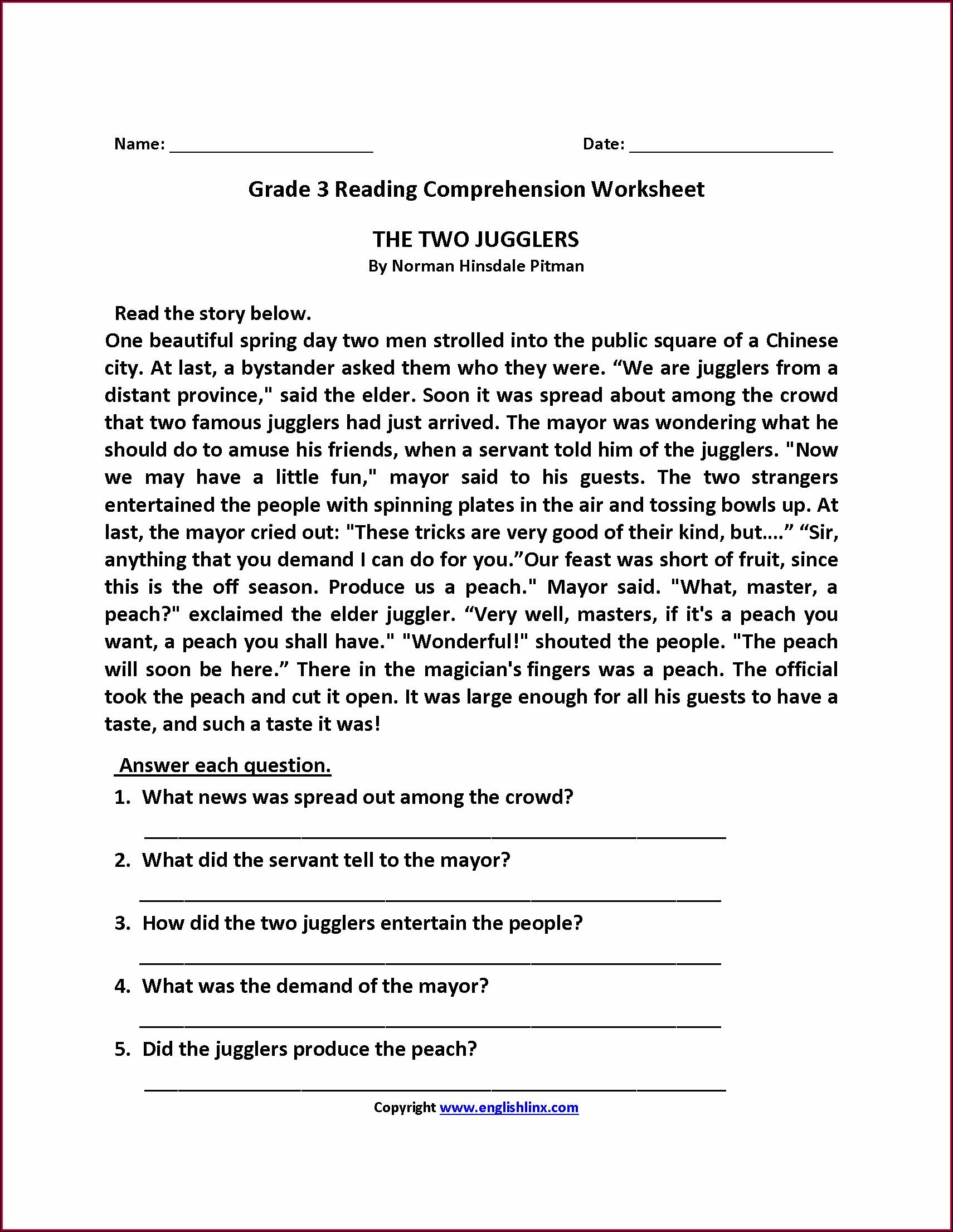 Comprehension Worksheet For Grade 3 Pdf