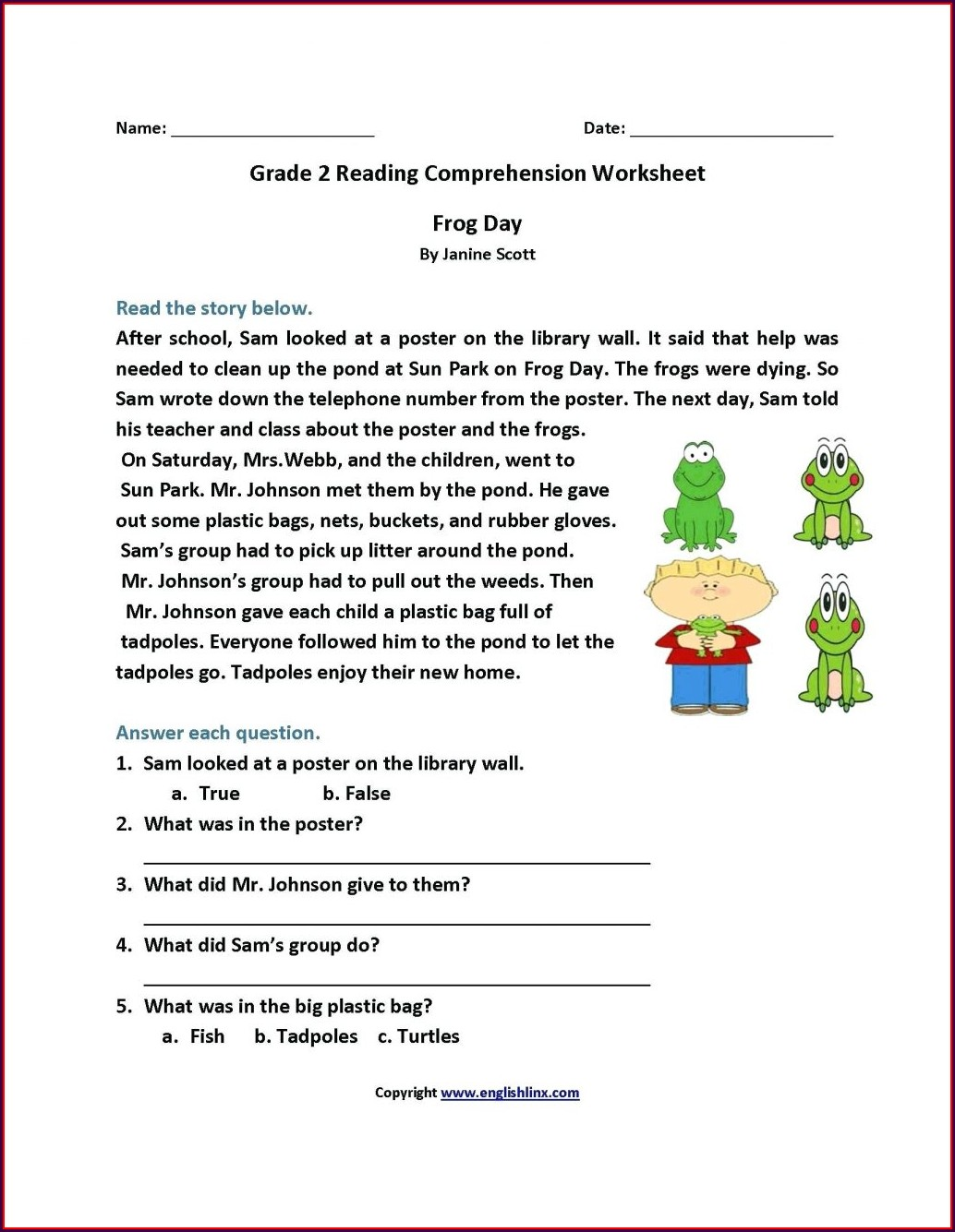 Comprehension Worksheet For Grade 4