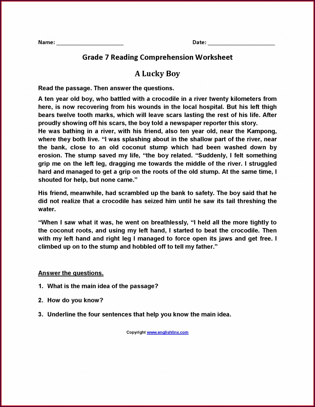 Comprehension Worksheet For Grade 7 English