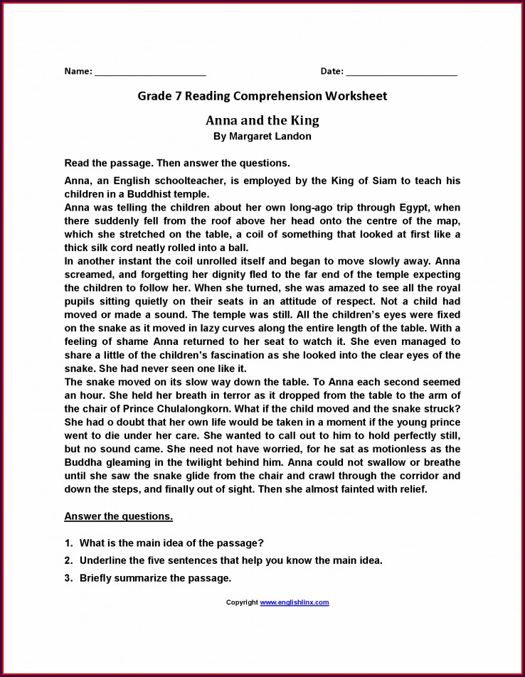 Comprehension Worksheet For Grade 7