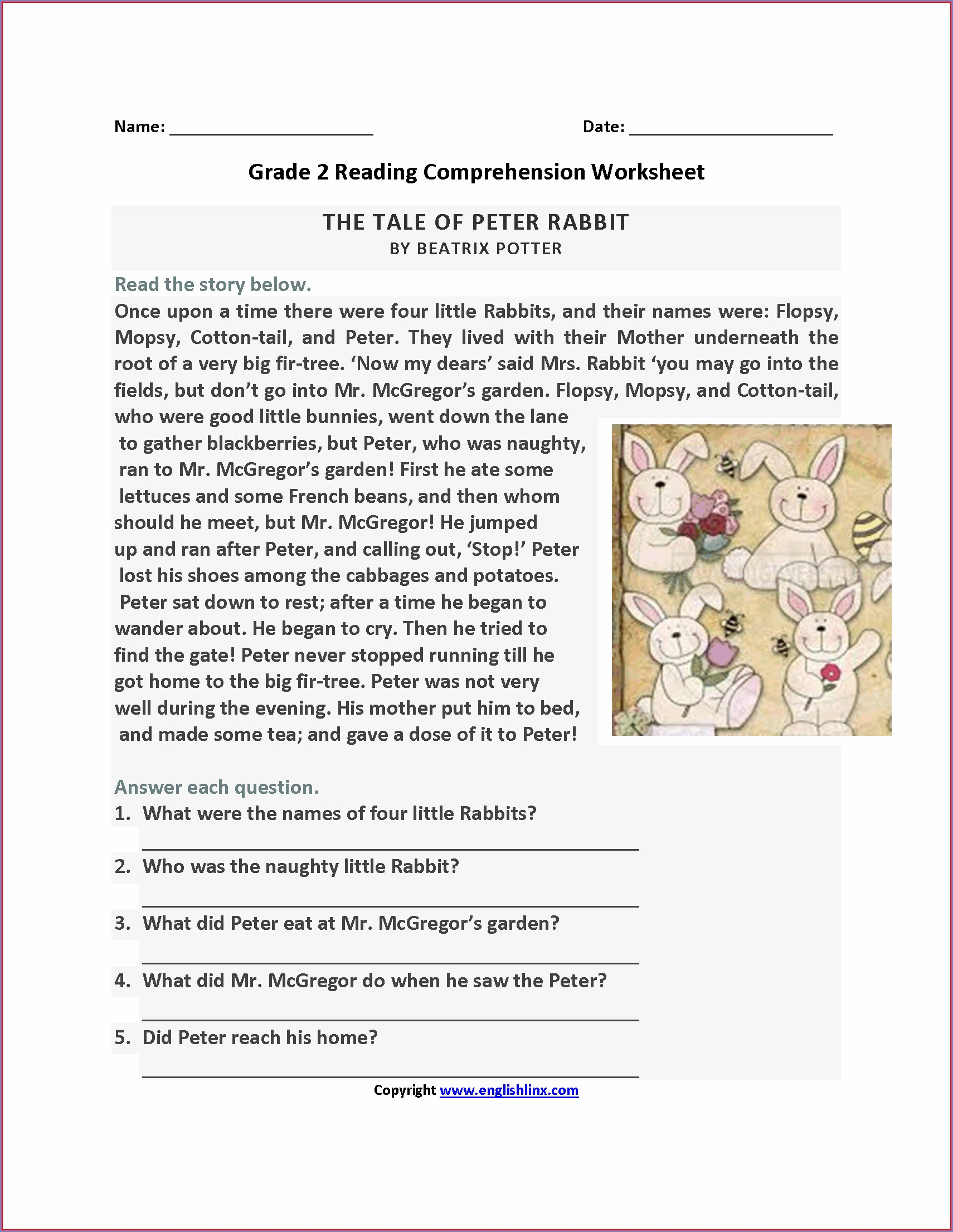 Comprehension Worksheets And Answers