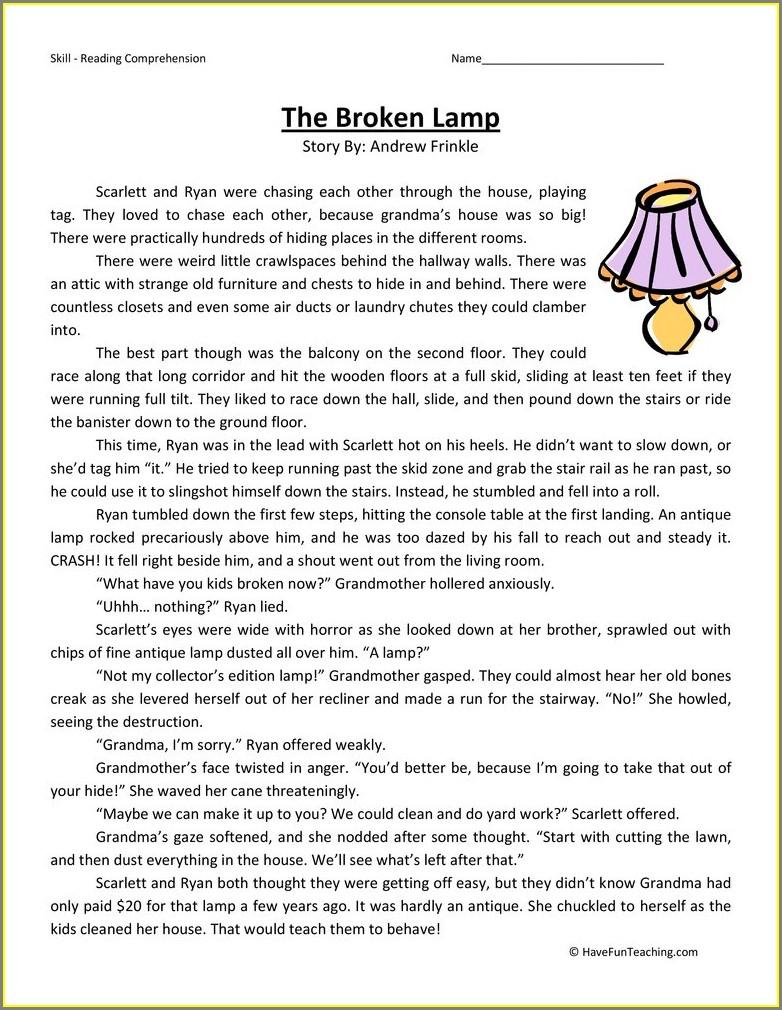 Comprehension Worksheets For 5th Graders