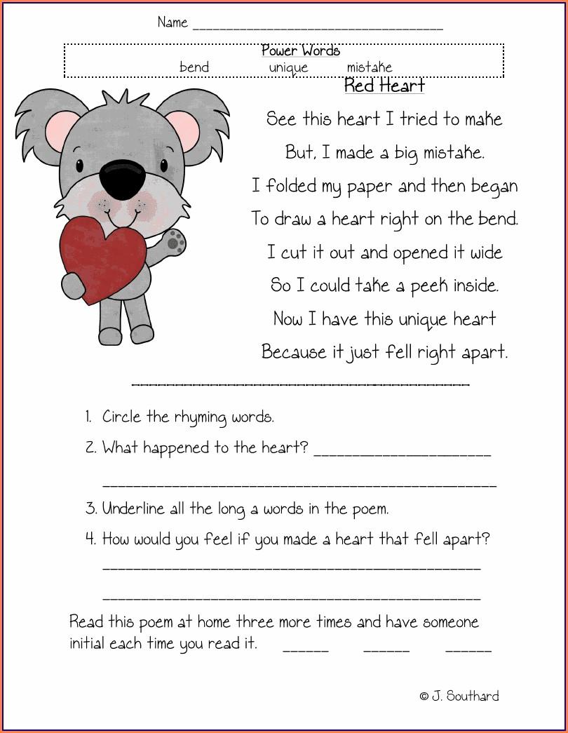 Comprehension Worksheets For First Graders