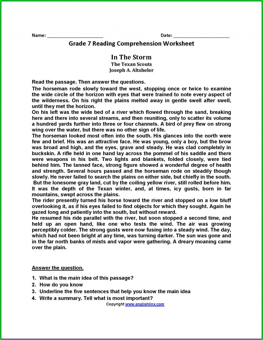 Comprehension Worksheets For Middle School Free