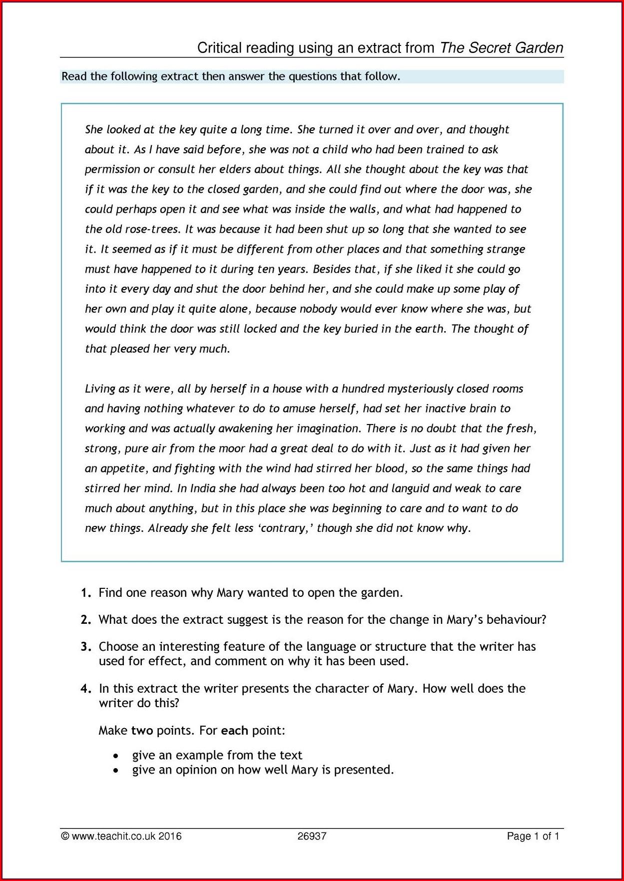 Comprehension Worksheets Ks4 English