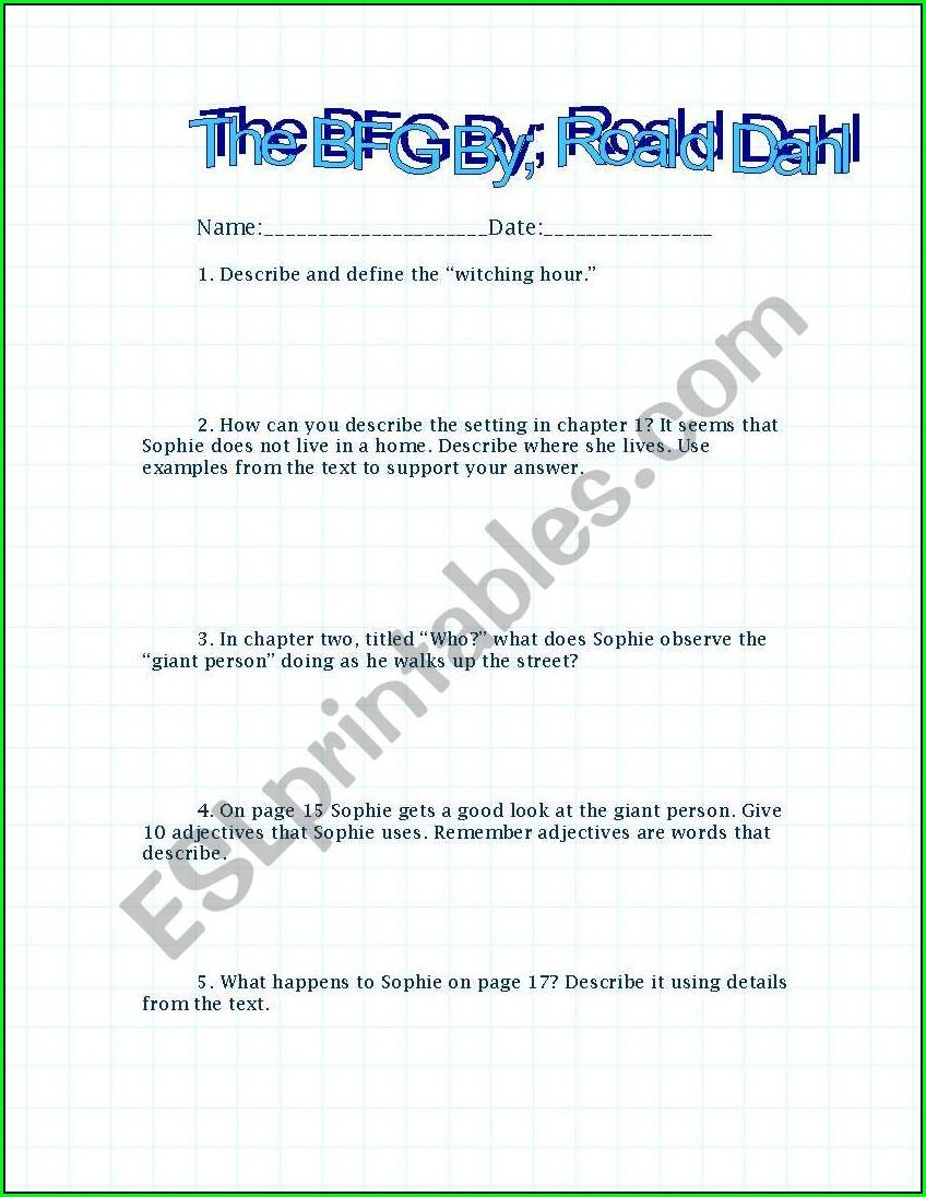 Comprehension Worksheets Roald Dahl